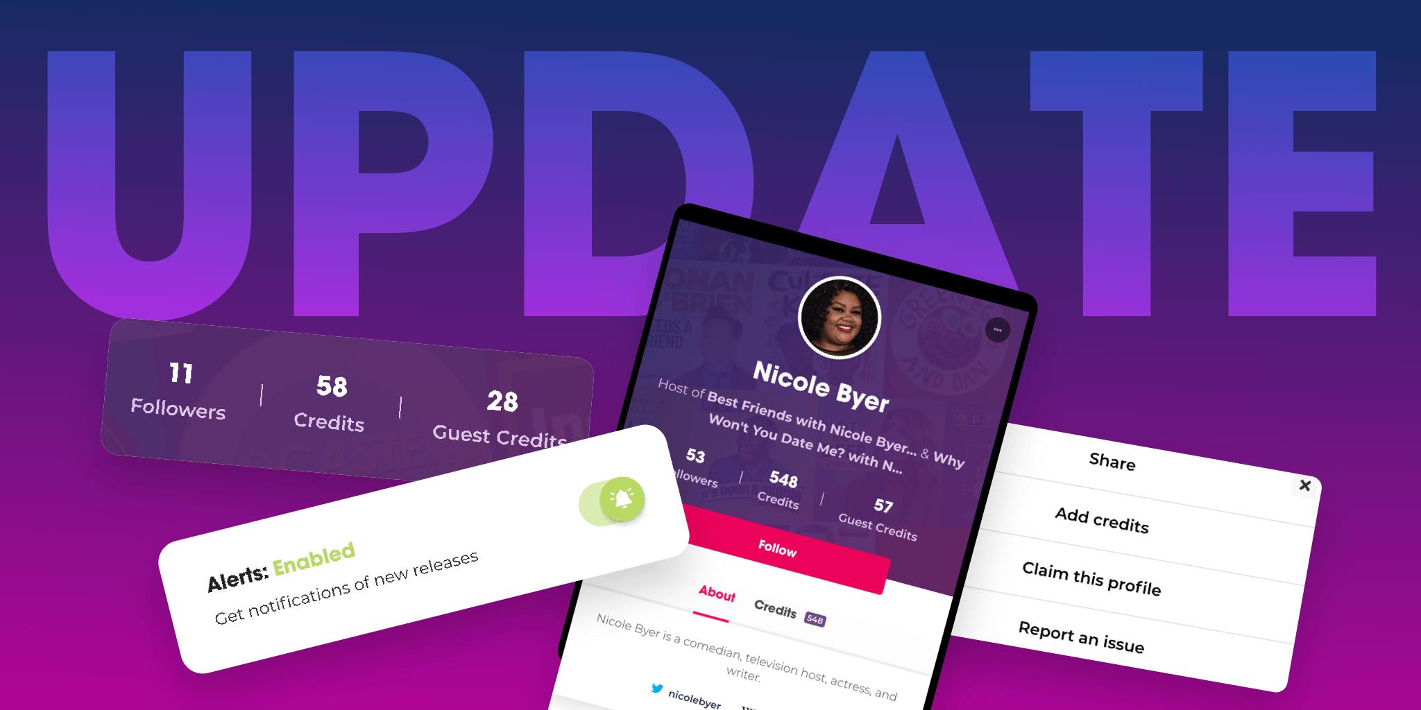 Podchaser Update: Creator Refresh, Alerts, & More!
